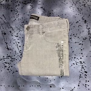 EXPRESS | Gray Rhinestone Cropped Jeans